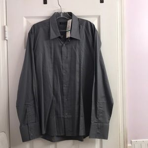 Kenneth Cole Gray Dress Shirt Size is L